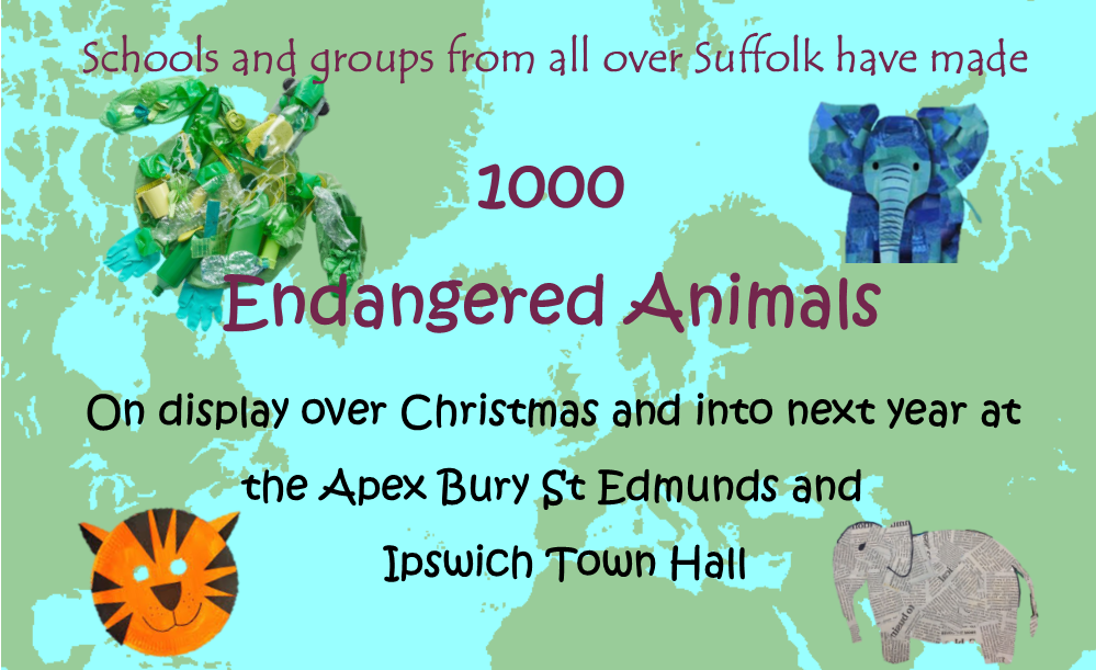 picture with text, 1000 endangered animals display at Bury Apex and Ipswich town hall