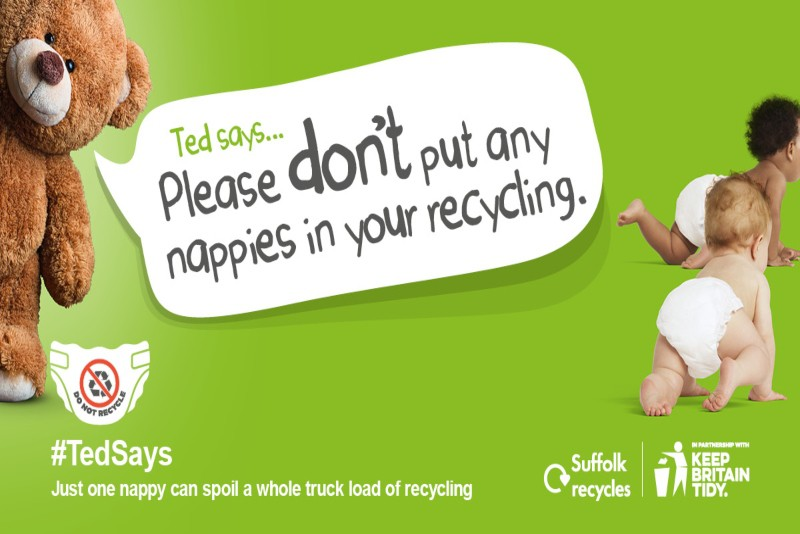 "Ted says ""Please don't put any nappies in your recycling bin""."