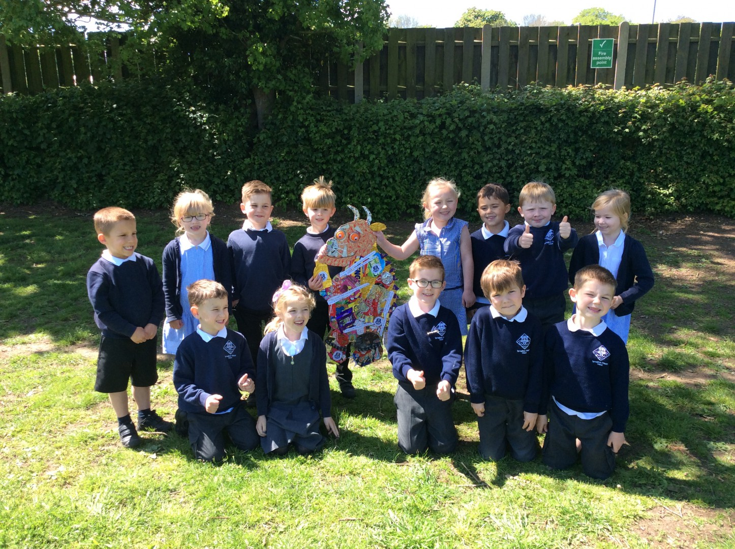 school children with there art work of Gruffalo