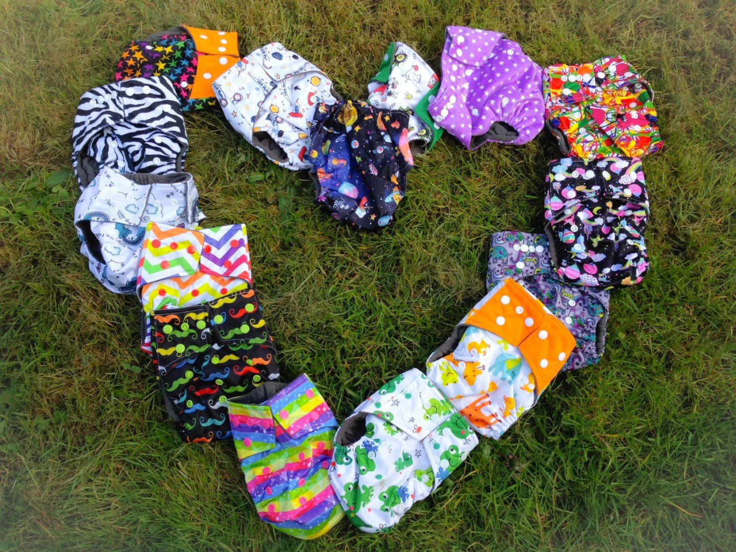 Cloth nappies arranged into a heart shape