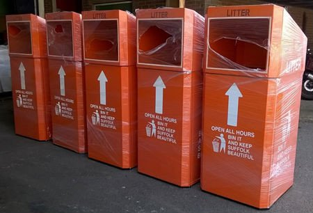 Orange style bins that will go on Suffolk's A roads