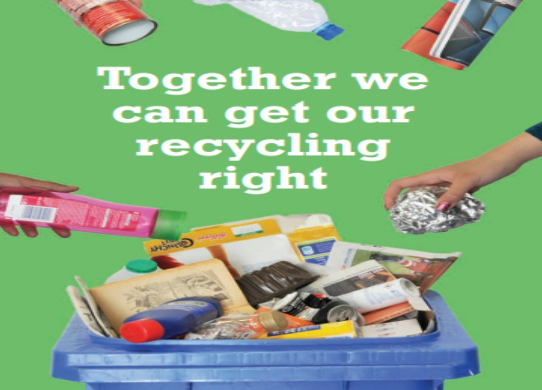 Recycle bin, text ''Together we can get our recycling right'