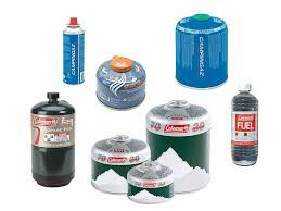 Various types of gas canisters