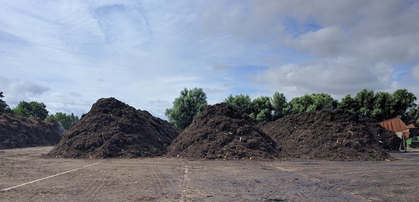windrow composting at site